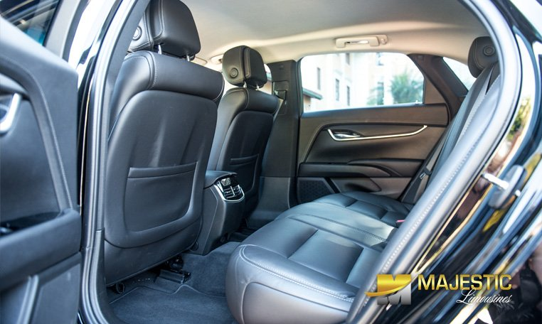 Inside rear view of Cadillac car rental in Miami