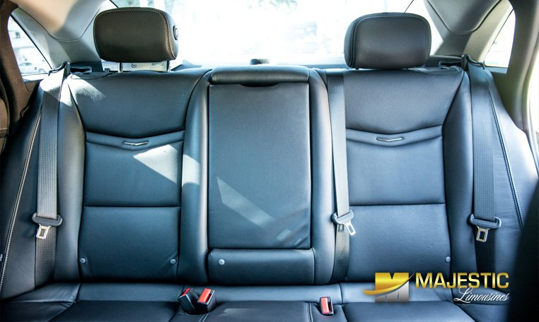 Rear seat view of Cadillac car rental in Miami