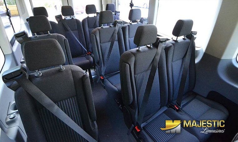 Interior view of Ford Transit van rental in Miami