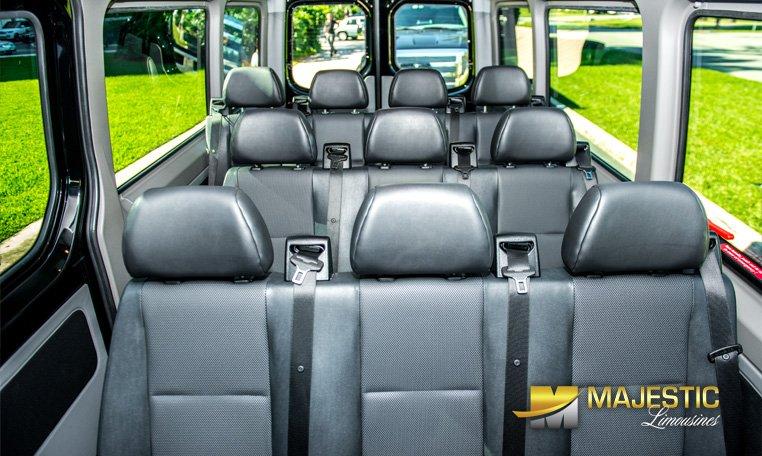 Inside rear view of Sprinter van rental in Miami
