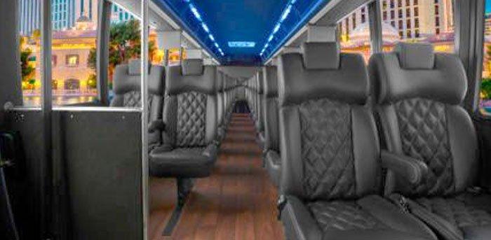 Spacious interior view of Luxury Mini Bus in Miami