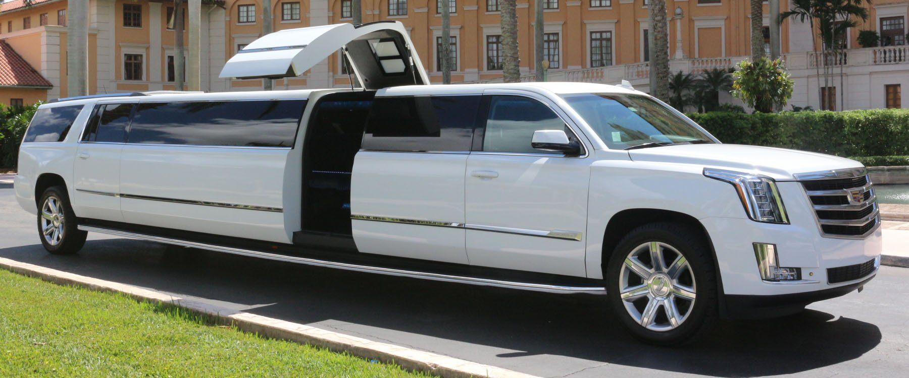 Exterior view of Cadillac Limo rental in Miami