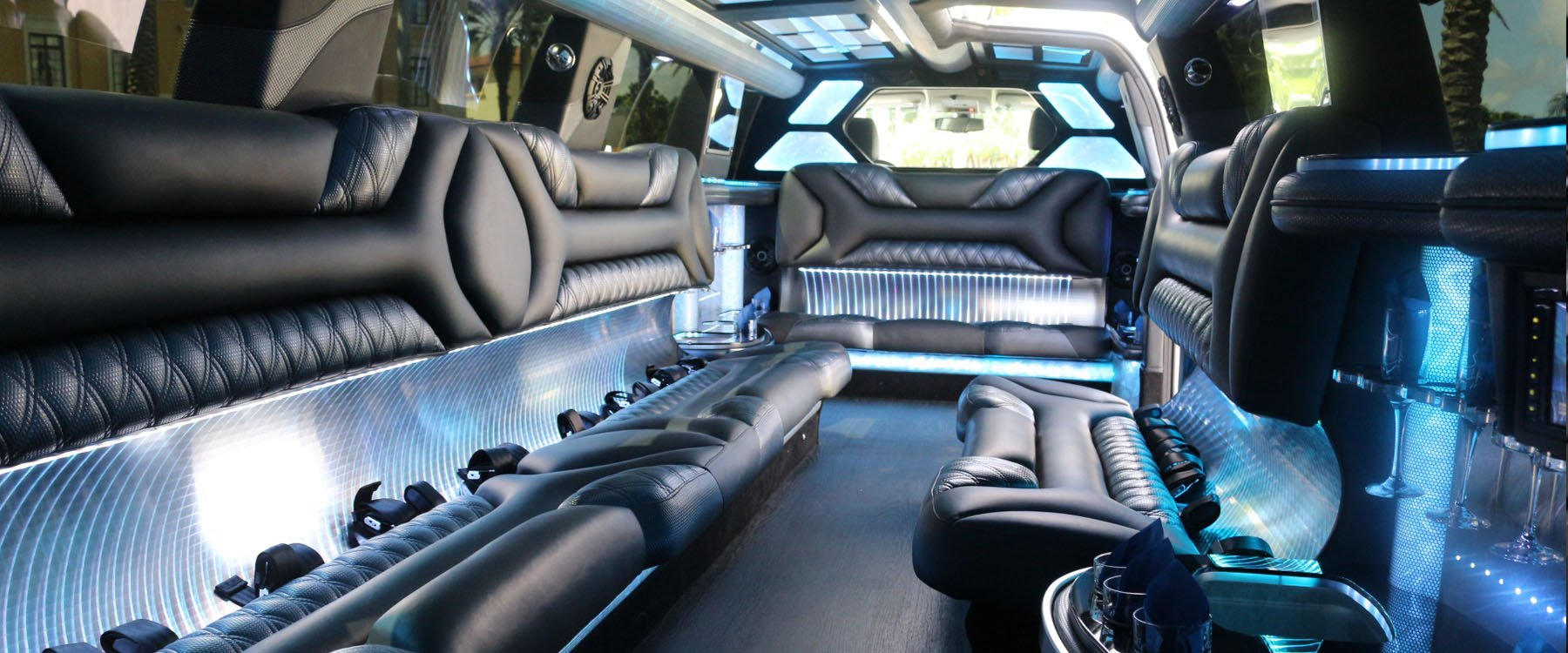 Inside rear view of Cadillac Limo rental in Miami