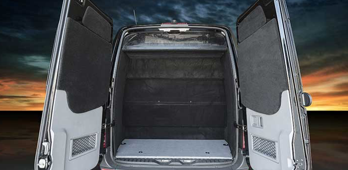 Roomy Trunk view of Sprinter Limousine holds 10 suitcases