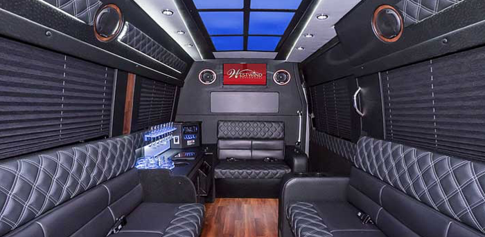 Inside Sprinter Limousine with entertainment sound system